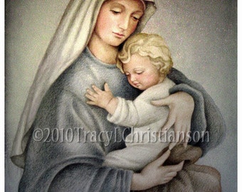 Madonna and Child (C), Virgin Mary and Jesus 8x10 Print Free Shipping #4030