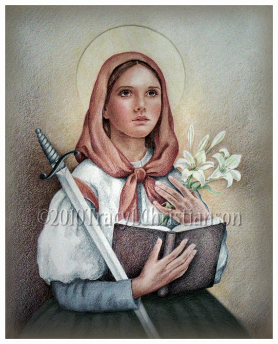 St. Dymphna Art Print Catholic Patron Saint of Depression