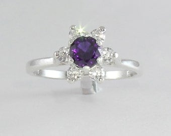 Natural African Amethyst & Sapphire Sterling Silver Ring / Amethyst Silver Ring