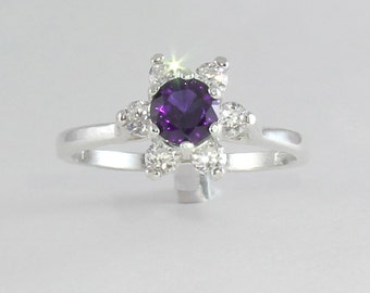 Natural Amethyst & Sapphire Sterling Silver Ring / Amethyst Silver Ring