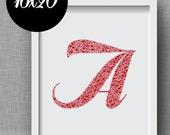 Custom Initial Art Print -- Order Any Monogram Art Print in 16x20 Format - Name Art, Alphabet Art, Personalized Print
