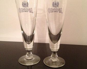vintage olympia beer pilsner glasses set of 2. Black Bedroom Furniture Sets. Home Design Ideas