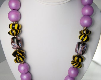 Single Strand Purple Wood, African Glass Trade Beads, African Brass