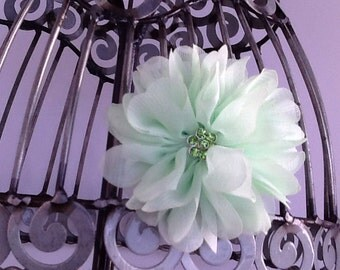 Mint green hair clip, girls green flower hair clip hair accessory, green hair flower with acrylic center, girls hair clip hair accessory.
