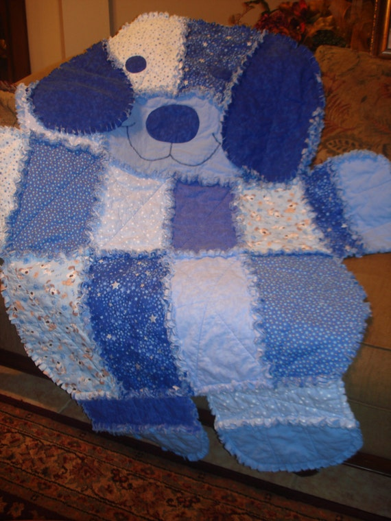 Items similar to Puppy Dog Shape Baby Toddler Rag Quilt Blanket in Blue Tones on Etsy