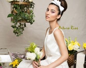 Cute White  Bridal Satin bow on a headband, wedding bow, Wedding Fascinator, Bridal hat