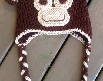Crochet Monkey Hat, Baby Monkey Hat, Monkey Hat, Newborn Photo Prop
