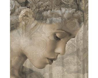 Pensive Goddess, digital print, modern portrait, photomontage, digital art, fine art print, fantasy portrait, home decor, modern art, prints