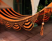 "Orange & Black Handwoven Hammock Natural Cotton / Thread Thickness ""18"""
