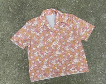 SALE flower power 70s vintage short arm blouse sz S