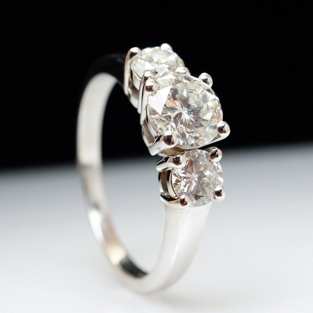 129 Cttw Three Stone Diamond Engagement Ring 14k White Gold