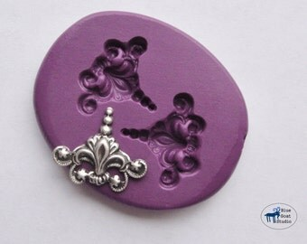 Fleur de Lis Finial Duo Mold/Mould - Ornate Corner Mold - Silicone Molds - Polymer Clay Resin Fondant Cake Decorating