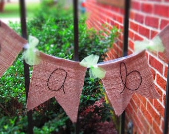Burlap Baby Banner - Baby Shower - Personalized Banner - Burlap and Tulle - Baby Room Wall Decor