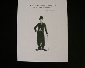 """Hang Tag Gift Tag Craft Supply Set of 25 tags Charlie Chaplin and Quote """"A day without laughter is a day wasted"""""""