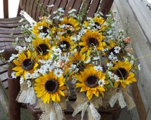 Rustic Sunflower Burlap and Lace Small Table Arrangements / Country Wedding Flowers / Sunflower Wedding Decor / Special Occasions / 12 Pcs.