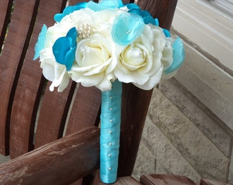 Real Touch White Rose and Blue Silk Bridal Bouquet and Grooms Boutonniere / Aqua / Pool Blue / Spa Blue / Silk Wedding Flowers