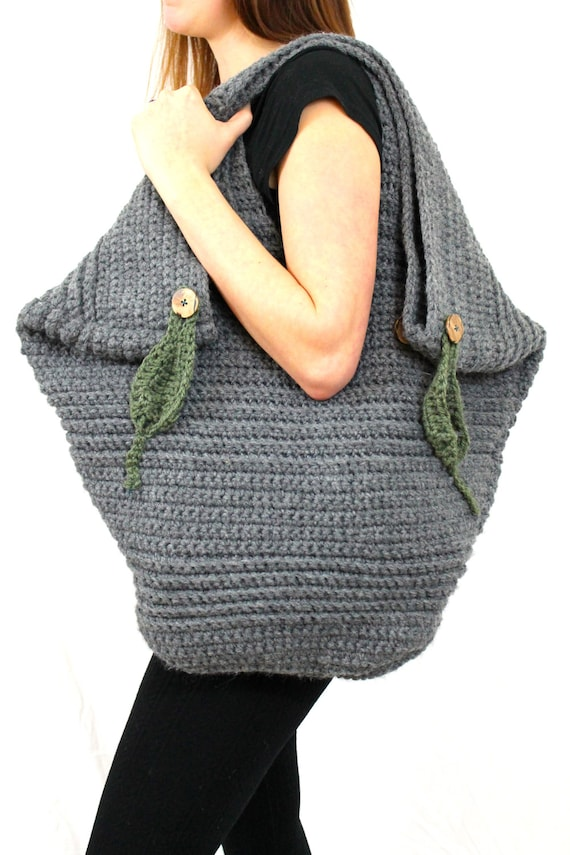 Giant Leafy Tote Pdf Crochet Pattern Extra Large By