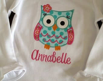 Owl applique ruffle shirt with name