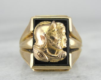 Mens Mid Century, Gold Overlaid Onyx Cameo Ring PPFFJ4-N