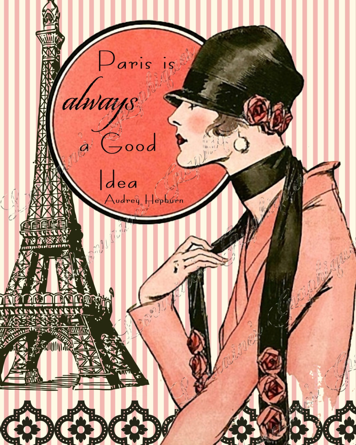 Paris is always a good idea a french fashion inspired altered fine art print for the french cottage chic or european styled home