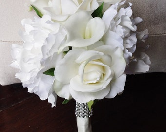Silk Wedding Bouquet with Off White Roses, Peonies and Callas - Natural Touch Silk Flower Bride Bouquet - Almost Fresh
