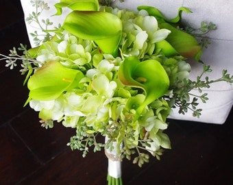 Silk Wedding Bouquet with Green Calla Lilies - Rustic Natural Touch Callas Silk Bridal Flowers