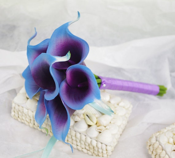 Silk Flower Wedding Bouquet Purple Blue Calla Lilies Natural