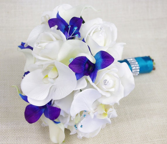 Silk wedding bouquet with off white roses blue purple and for Bouquet roses blanches