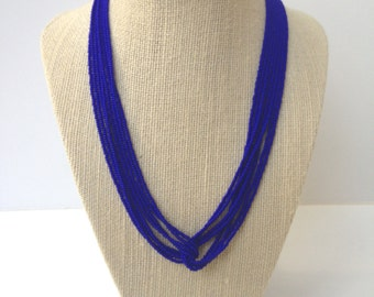 Royal blue necklace, seed bead necklace, monaco blue necklace, blue necklace, seed beads ,  blue beaded necklace, blue seed beads