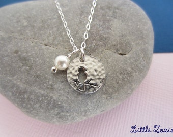 Necklace Medal Bird - Sterling silver chain