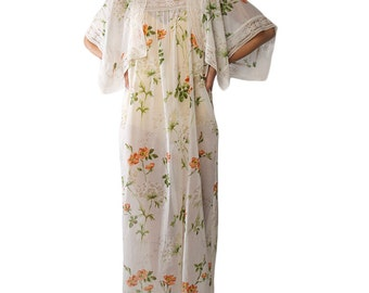 70s Kimono Kaftan Dress / Lace Floral Maxi Dress