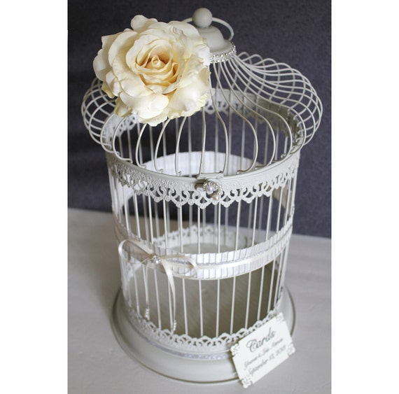 Birdcage Wedding Card Holder: Wedding Birdcage Card Holder Antique White Ivory Pearl
