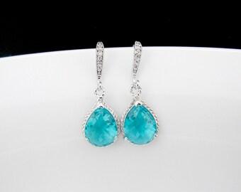 silver teal earrings , bridesmaids teal earrings , cz teal earrings , zirconia teal earrings , wedding jewelry , sea green earrings , bridal