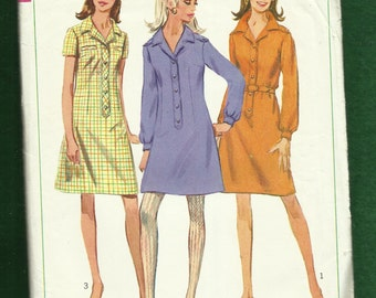 1967 Simplicity 7168 Front Placket Shirt Dress Semi Fitted Laydown Collar and Epaulettes Size 12