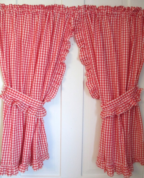 Red White Gingham Curtains 2 Panels Valance And Ruffled Tie