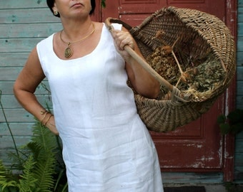 Handmade Linen Sleeveless Tunic With Slits on Sides