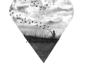 Pencil Drawing Print - Deep In Our Hearts - Day 294