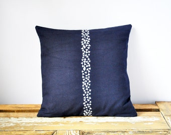 Pillow Cover - Dark Blue and White Stripes Cushion - Handprinted Cotton Throw Pillow