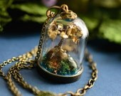 Steampunk Pendant Terrarium Necklace, Gold Leaf Bonsai Tree Miniature Bell Jar - singlewhitepixel