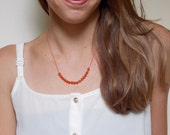 Carnelian Necklace, Hand Knotted Necklace Red Silk Cord Necklace PHOEBE