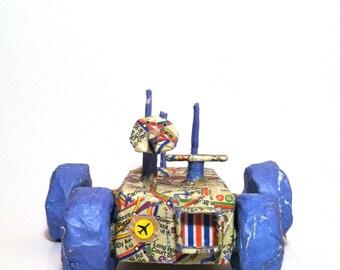 Paper Mâché Roller Robot.  Robots of 1995 Collection