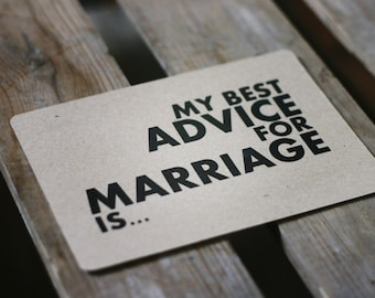 Marriage Advise Card // Manilla