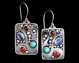 Sterling Silver Gemstone Earrings: BALI