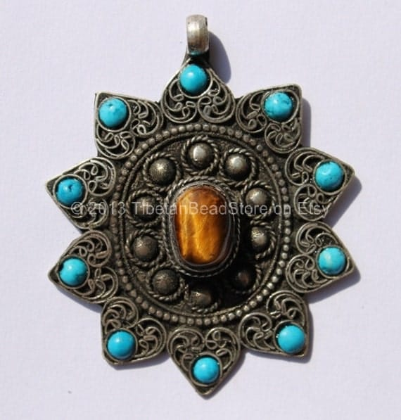 Tibetan Pendant - Filigree Pendant with Himalayan Tigers Eye & Turquoise Inlays - WM358