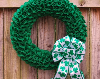 St. Patrick's Day Wreath, Irish Wreath, Spring Wreath, St. Patty's Decor, Green Felt Wreath