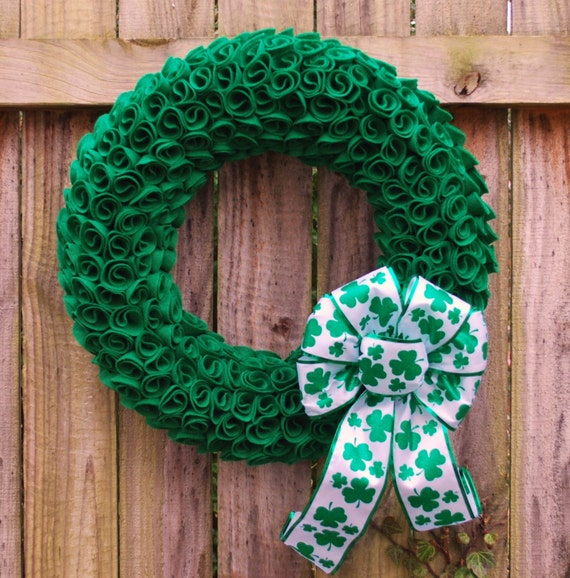 St. Patrick's Day Wreath, Irish Wreath, Spring Wreath, St. Patty's Decor, Green Felt Wreath