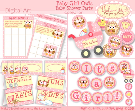 items similar to baby shower party set pink baby girl owl decorations