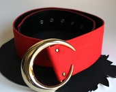 Gold Crescent Moon Buckle on Red Belt size 26 to 30