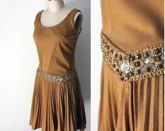 Vintage Gold Rhinestone Studded Party Dress - an original Jr Theme New York