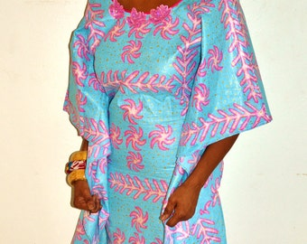 Blue African Print Dress, Blue African Ankara  Fabric Dress, Ankara Print Butterfly kaftan Dress, Blue Handmade Dress